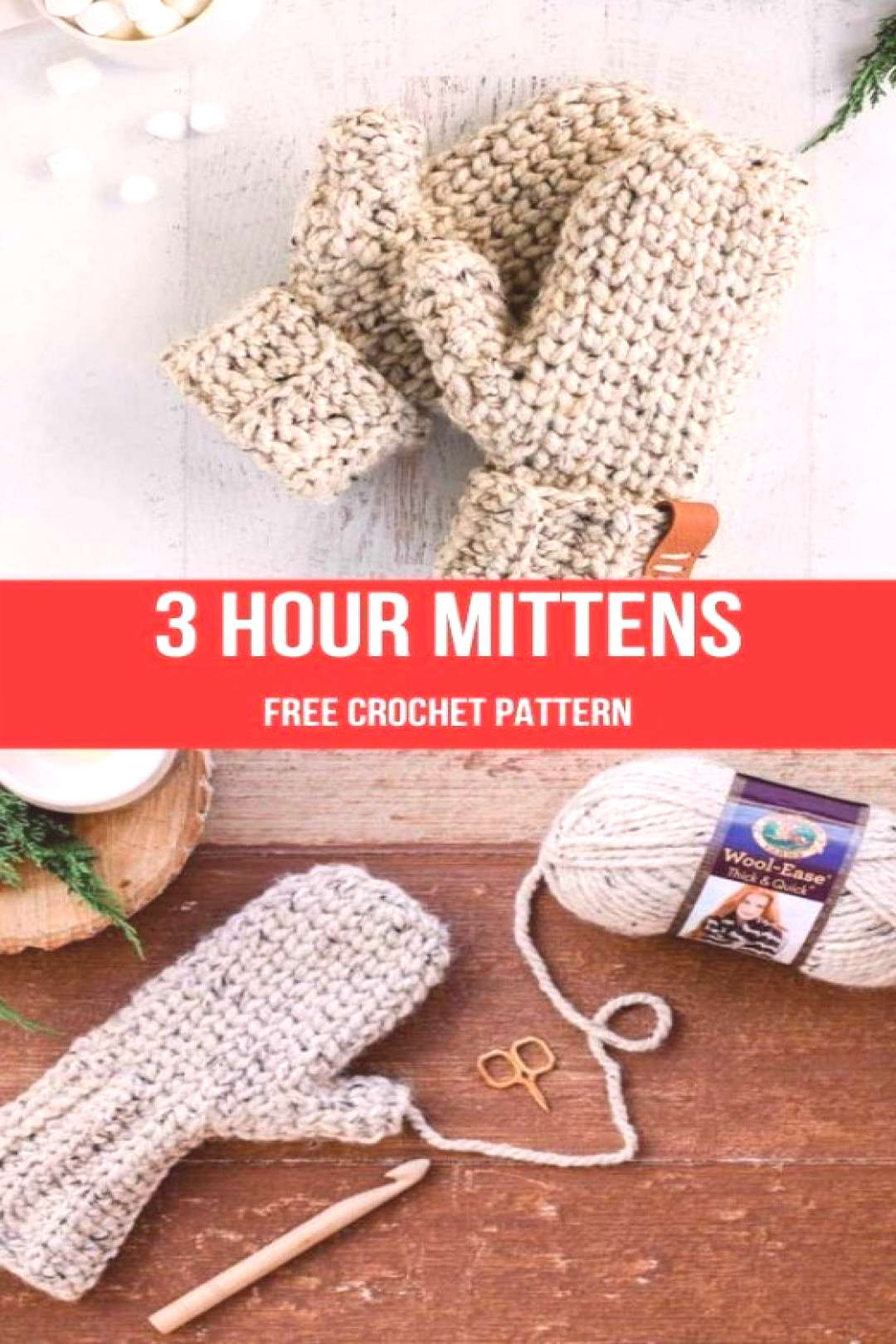 3 HOUR CHUNKY CROCHET MITTENS FREE Pattern   Pattern Forest -  -