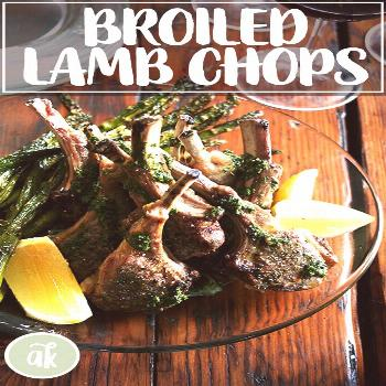 Broiled lamb chops with Nigella Lawson's mint sauce — so festive, so delicious, so easy. This min