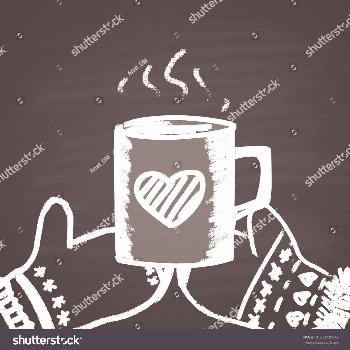 Chalk painted illustration with couple of mittens, cup with hot coffee and heart. Happy Valentine's