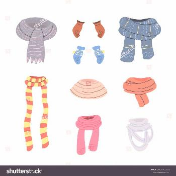 Collection of various scarves, gloves and mittens. Vector set in cartoon style. Isolated objects on