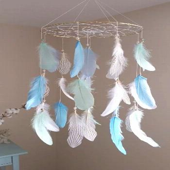 Cot Mobile Mint Blue Baby Mobile Boy Nursery Mobile Large Dream Catcher Woodland ... -  Cot Mobile
