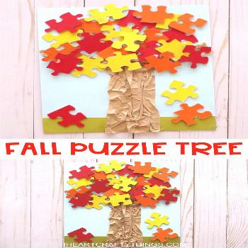 Easy Fall Puzzle Tree Craft for Kids FALL PUZZLE TREE CRAFT -Have any puzzles with missing pieces l