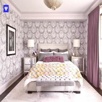 Farrow and Ball Lotus wallpaper in master bedroom with mauve decor Farrow and Ball Lotus wallpaper