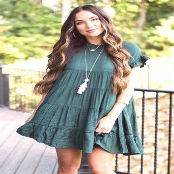 Flowy Hunter Green Tiered Dress - Lined – The Mint Julep Boutique