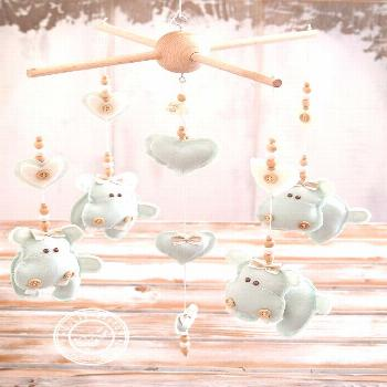 Hippo Baby Nursery Mobile, Baby Mobile Hanging, Mint Green Nursery Decor, Mint Baby Mobile, Boy & G