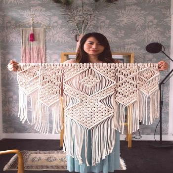 Large Macrame Wall Hanging - Available in White, Gray, Mustard, Green, Mint, Salmon, Blush or Laven