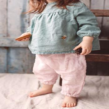 Linen Tunic Louise with Long Sleeves and hand embroidery / Mint Green linen tunic for girls / more