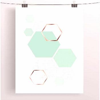 Mint Art, Mint Print, Copper Art, Rose Gold Print, Geometric Print, Pastel Art, Hexagon Poster, Kid