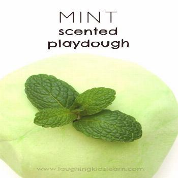 Mint scented play dough recipe for kids to enjoy playing with.