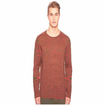 Missoni Fiammato Pima Cotton Long Sleeve Sweater (Green/Red) Men's Sweater. Dress to impress this s