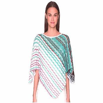 Missoni POI1CMD63980 (Aqua/Pink) Scarves. Craft a captivating look with this colorful Missoni ponch