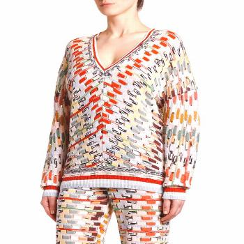 MISSONI-Opticals-V-NECK OPEN WEAVE SPACE-DYE SWEATER.