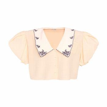 MIU MIU - tops - Collared V-Neck Button Down Top