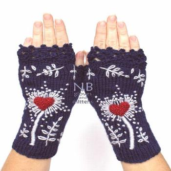 Navy Blue Gloves With  Heart, Embroidered Gloves, Knitted Fingerless Gloves, Dark Bue, Red Heart, G