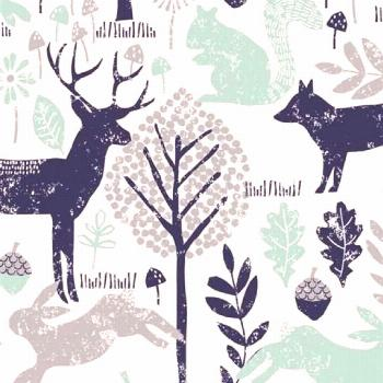 Nursery Bedding - Navy and Mint Woodland Animals#animals
