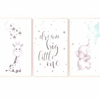 Nursery decor elephant, Mint nursery decor, dream big little one, gender neutral nursery, cloud and