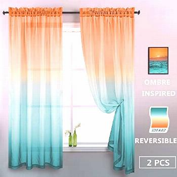 Orange and Green Sheer Curtains 84 Inches Long 2 Panels Modern Two Tone Window Semi Sheer Bright Co