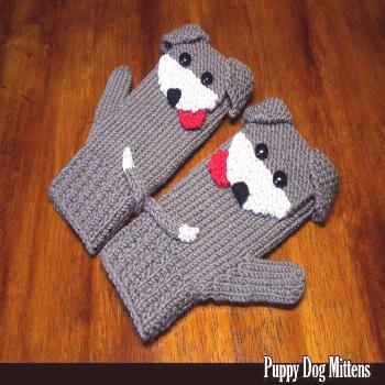 Puppy Dog Mittens for the Family Knitting Pattern - قفازات