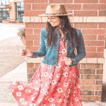 s p r i n g florals ?layered with for any occasion ☀️ . . Dress $79 XS-XL Denim Jacket $89 X