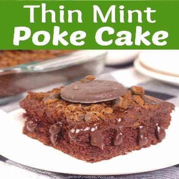 Thin Mint Chocolate Poke Cake topped with Chocolate Ganache Thin Mint Poke Cake - Fluffy moist choc