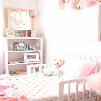 Toddler girl bedroom updates with a few sweet touches. We added a toddler Jenny Lind bed, a new cha