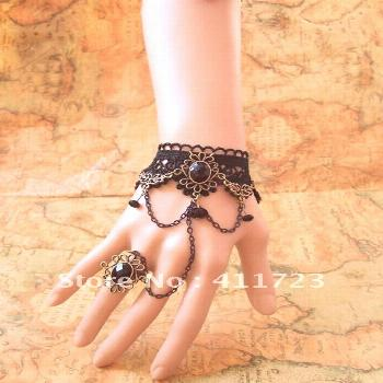 US $11.27 |($15 free post) DIY court retro jewelry bracelet female tassel lace wristband Mittens Se