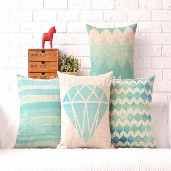 US $13.99 |Blue and green Blue Mint Square Cross geometry Pillow cushion cover polyester PillowCase