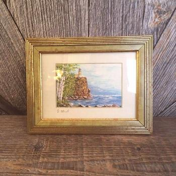 Vintage Lighthouse Painting Split Rock Lighthouse Duluth Minnesota North Shore S... -  Vintage Ligh