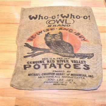 Vintage Whoo Whoo Owl Potatoes Burlap Bag Sack Advertising Rustic Farmhouse Kitchen Decor Red River