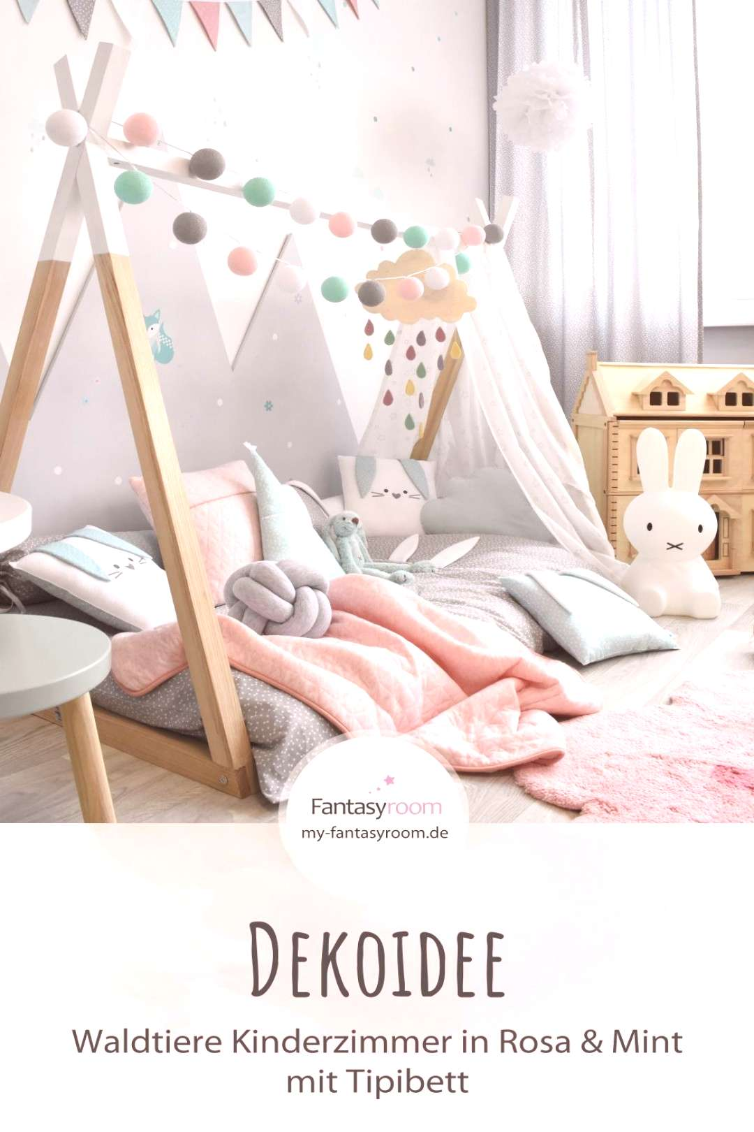 Girl's room with tipi bed & forest animals in pink & mint - my blog