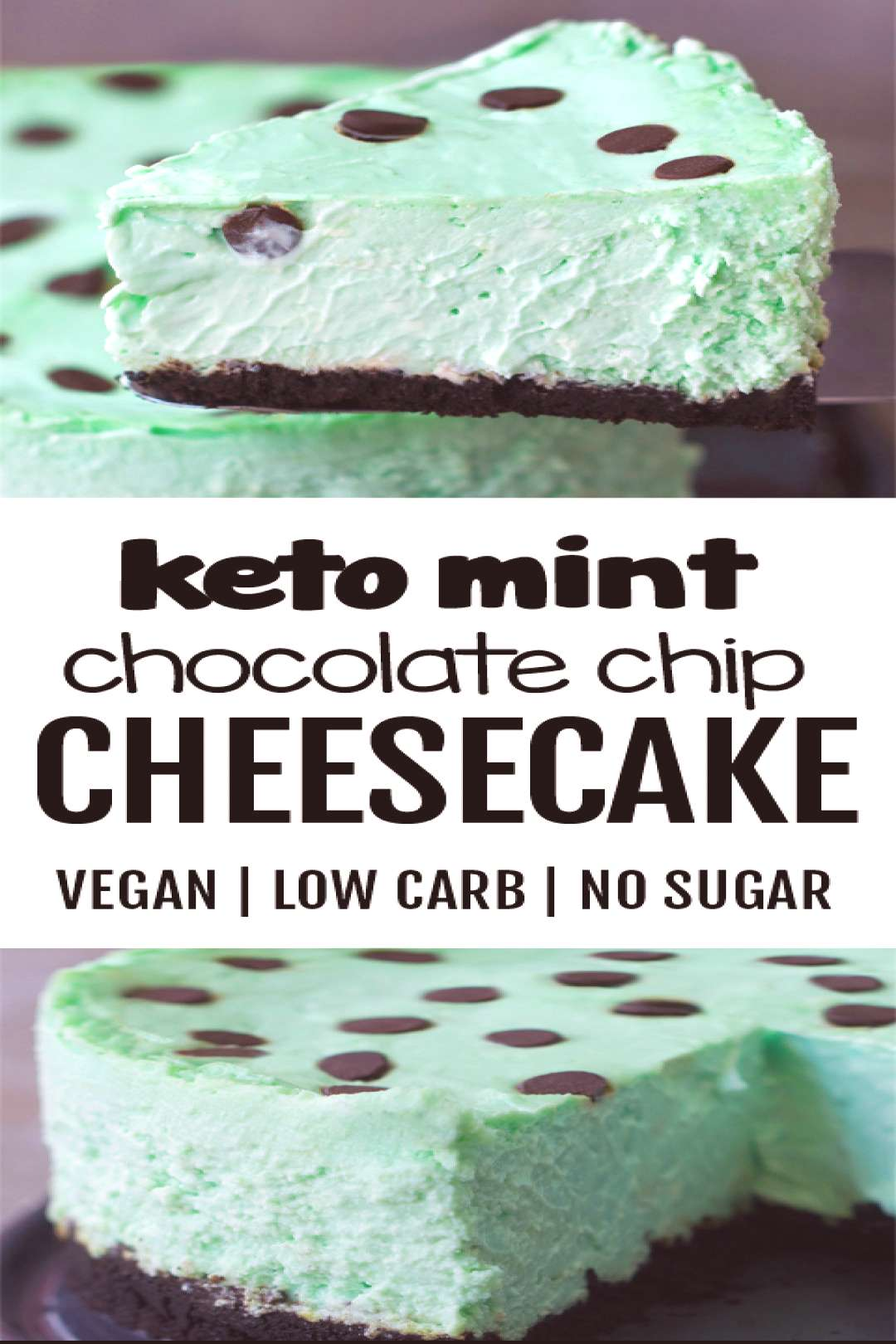 KETO Low Carb Creamy Mint Chocolate Chip Cheesecake Recipe#carb