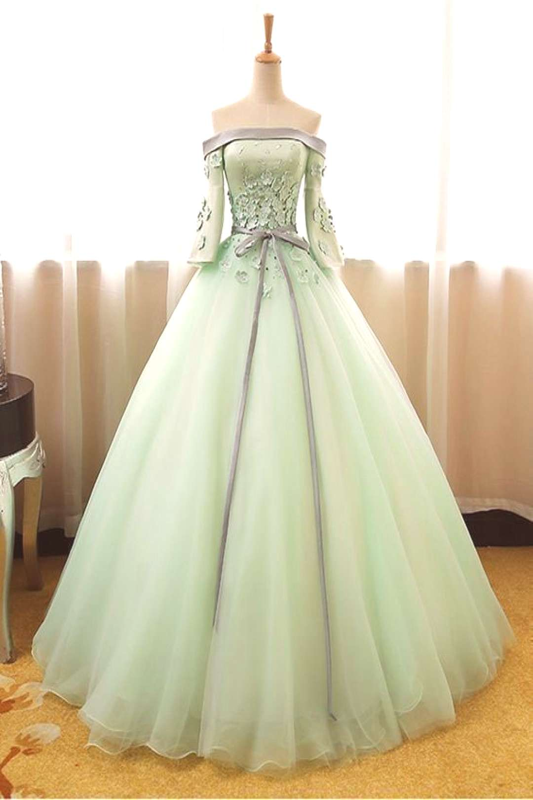 Lovely Mint Green Ball Gown Long Party Gown, Sweet 16 Formal Dress#ball