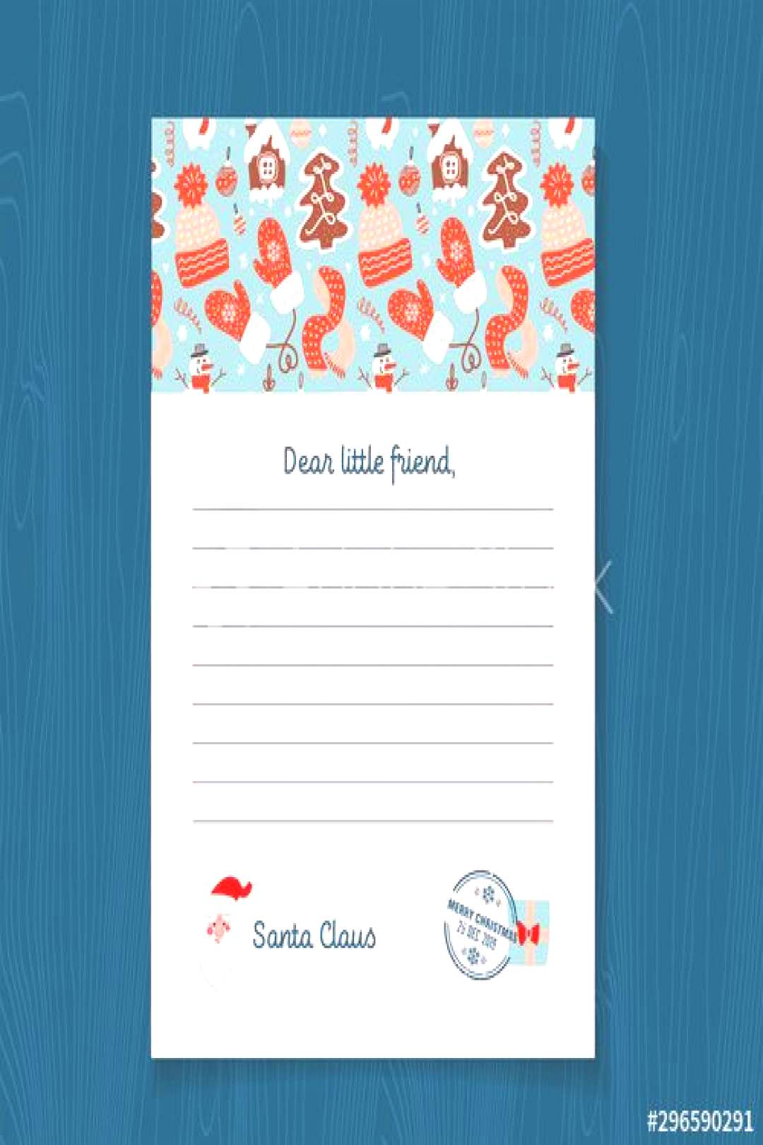 Response letter from Santa Claus template. Christmas Pattern with Gingerbread men, Mittens, knitted